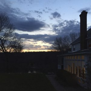 My house, the darkening sky.