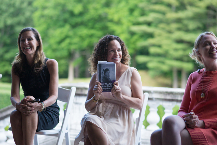 Women's Travel Writers together. Marcia DeSanctis, Lavinia Spalding, Colleen Kinder at The Mount Photo: Restless Books